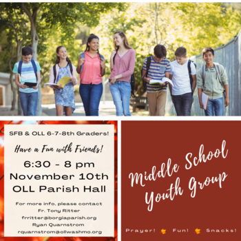 Middle School Youth Group Meets Nov. 10th