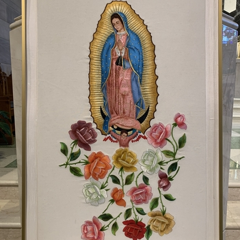 Our Lady of Guadalupe Tilma Replica Visits St. Ann DC for the Feast of St. Ann!