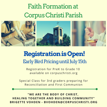 Faith Formation Registration is Open