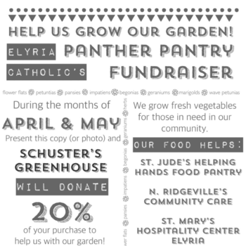 Shop Schuster's Greenhouse and support the Panther Pantry