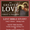 LENT BIBLE STUDY (ONLY 5 CLASSES DURING LENT)
