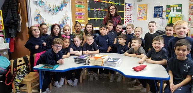 Mrs. Piccirillo , the inventor, visits Kindergarten with her new baby soothing technological devise,