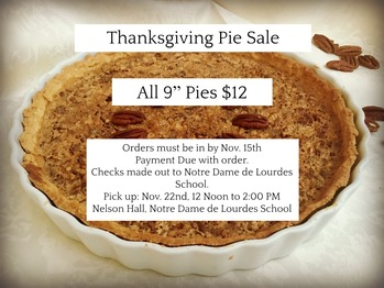 Thanksgiving Pie Sale: ORDERS DUE