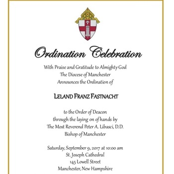 Ordination Announcement for parishioner Leland Fastnacht