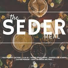 Seder (Passover) Meal Monday of Holy Week, March 26th