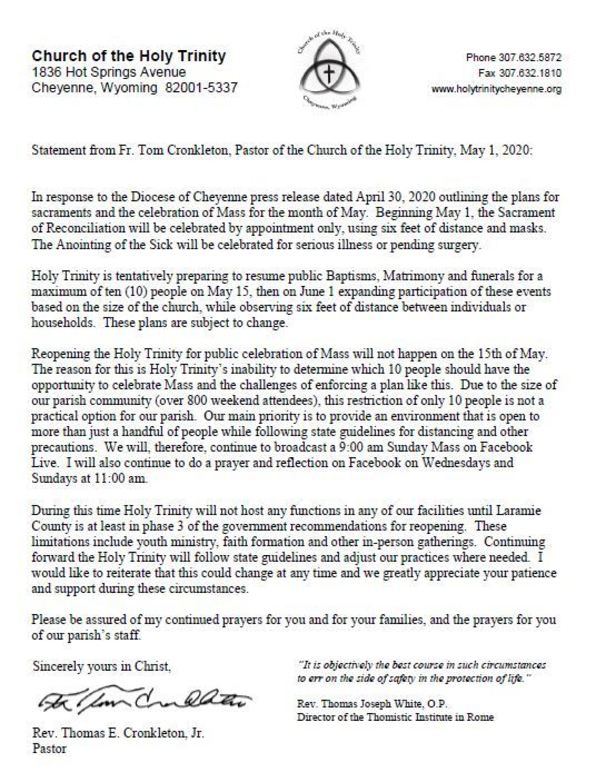 Statement from Fr. Tom Cronkleton, May 1, 2020