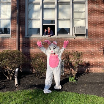 Easter Bunny Drive-By Greeting for Holy Trinity Families!