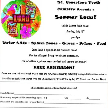 St. Genevieve Youth Ministry Presents a Summer Luau!