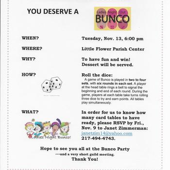 St. Therese Guild Meeting- BUNCO Party!
