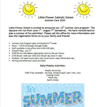 2020 Little Flower School Summer Care
