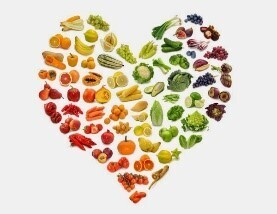 heart shape filled with fruits and vegetables