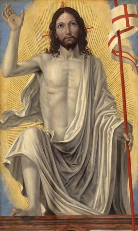 "ALLELUIA, CHRIST IS RISEN!  The Resurrection is depicted in ""Christ Risen from the Tomb,"" a painting by Italian Renaissance  artist Bergognone. The artwork is from the Samuel H. Kress Collection at the National Gallery  of Art in Washington. (CNS photo/courtesy of the National Gallery of Art)"