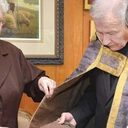 Cope of St. Jean Vianney, patron saint of priests, gifted by Sisters of Mount Carmel