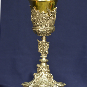 Angels, baroque ornamentation adorn Italian-made chalice