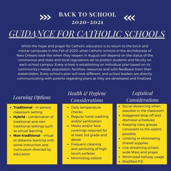 A Statement from Dr. RaeNell Houston on the Reopening of Catholic Schools
