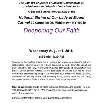 A SPECIAL SUMMER RETREAT ON DEEPENING OUR FAITH