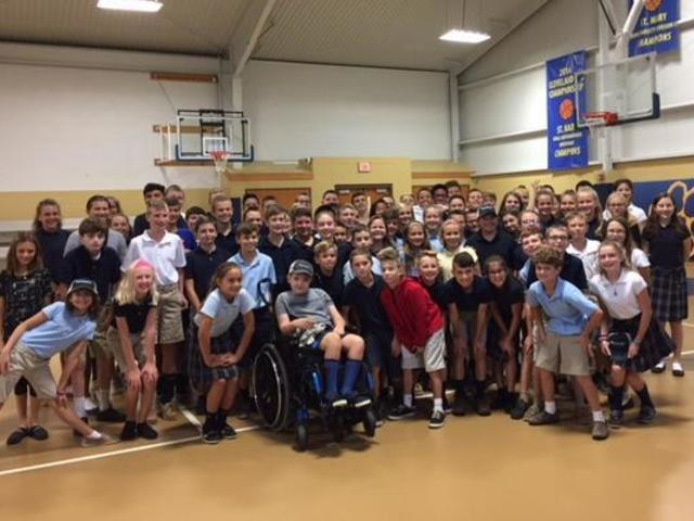 Shane Hadded visits with St. Mary Avon students the morning of September 19