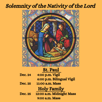 Mass Times for Dec. 24 and 25
