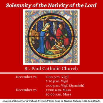 Solemnity of the Nativity of the Lord Mass Schedule