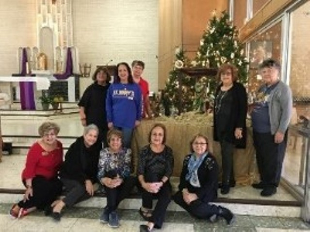 Altar Society Members keep our church beautiful