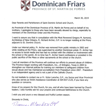 Letter from Father Condon to St. Dominic School