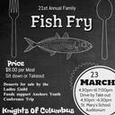 21st Annual Fish Fry- March 23, 2018
