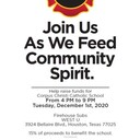 Family Dine Night at Firehouse Subs Dec 1