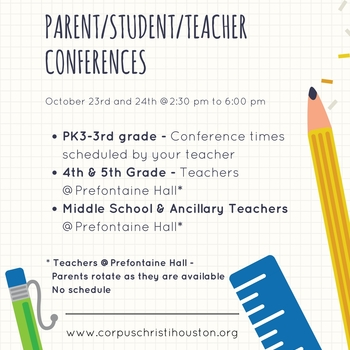 Parent/Teacher/Student Conferences 10.23 and 10.24