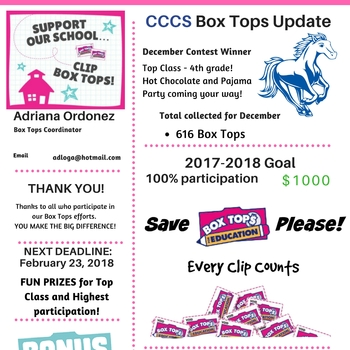 Great Job 4th Grade! Dec Box Tops Winners!