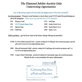 Auction Gala update