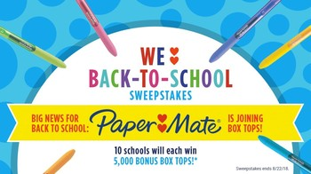 Box Tops Sweepstakes ends 8/22/2018