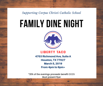Family Dine / Spirit Night 03.05.2019