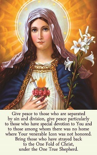 Painting of Virgin Mary on card with prayer for peace in English