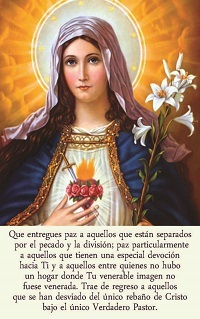 Painting of Virgin Mary on card with prayer for peace in Spanish