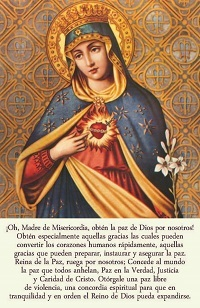 Icon of Virgin Mary on card with prayer for peace in Spanish