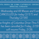 Parish Events Cancelled