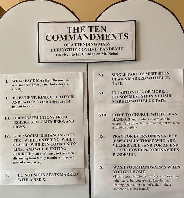 Ten Commandemtns of attending Mass during the COVID-19 Pandemic