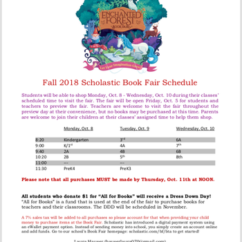 Fall Scholastic Book Fair