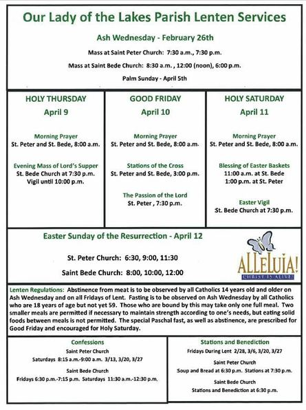 Our Lady of the Lakes Lenten Services 2020
