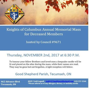Knights of Columbus Annual Memorial Mass for Deceased Members