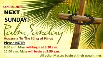 Palm Sunday Mass Schedule