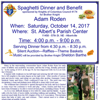 ADAM RODEN Spaghetti Dinner Benefit sponsored by the Knights of Columbus