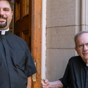 Fr. Alfred Harris welcomes the Fr. Vincent De Rosa to St. Mary Mother of God