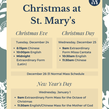 Christmas at St. Mary's Mass Schedules