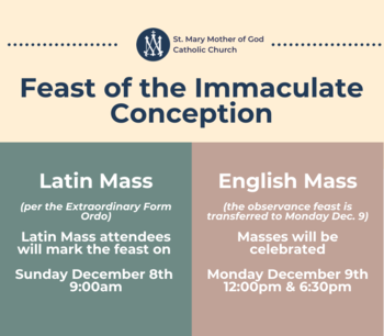 Feast of the Immaculate Conception Schedules
