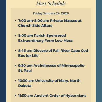 1/24 March for Life Mass Schedules