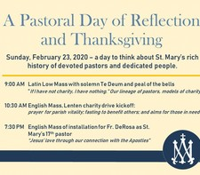 2/23 Mass of installation: Fr. De Rosa as St. Mary's 17th Pastor