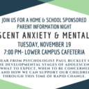 Home & School Speaker Night: Adolescent Anxiety & Mental Health