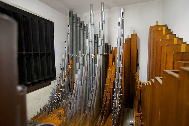 AThe restored Swell Division of the pipe organ at Our Lady of Refuge.