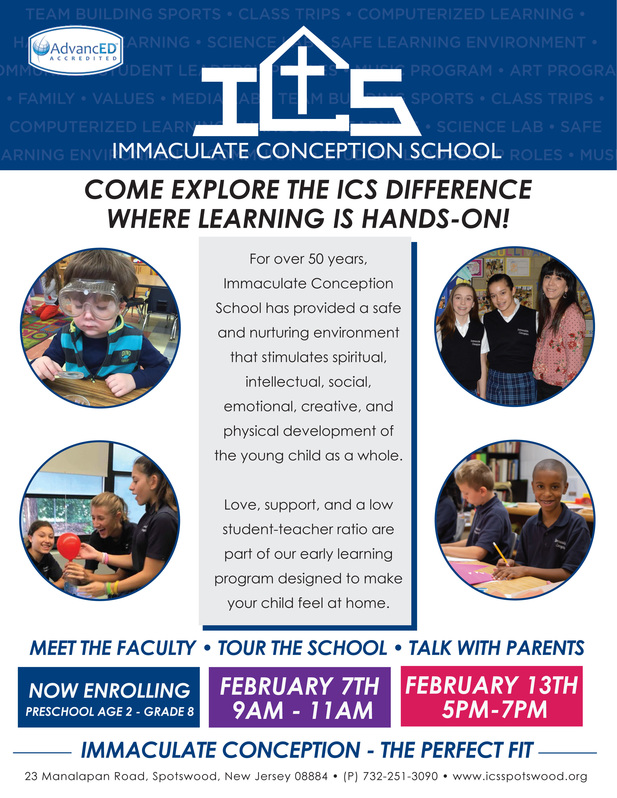 Open House Morning Tours Immaculate Conception School Spotswood Nj
